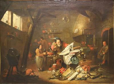 """""""El Alquimista"""" óleo de  Mattheus van Hellemont"""