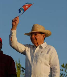 Raúl Castro durante un acto público