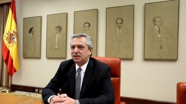 Alberto Fernández en el Congreso de los Diputados español. (EFE)