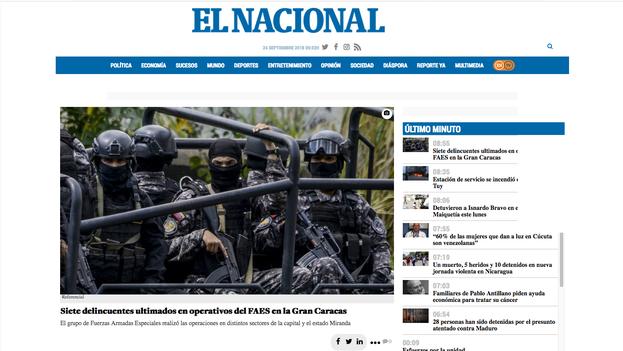 Desde junio, 'El Nacional' encabeza el 'ranking', por encima de portales de países que triplican y cuadruplican en población a Venezuela.