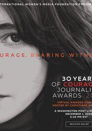 Cartel del Premio al Coraje en Periodismo. (International Women's Media Foundation)