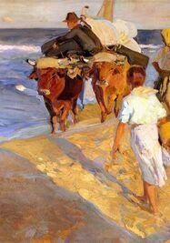 Reproducción de la obra 'Sacando la barca', de Joaquín Sorolla. (Copiamuseo)