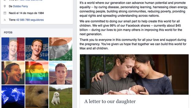 Anuncio de Mark Zuckerberg en su página de Facebook, donde colgó una foto con su mujer, Priscilla Chan, y la hija de ambos, Max. (Facebook)