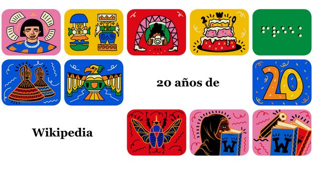 Cartel de celebración del vigésimo aniversario de Wikipedia. (Captura)
