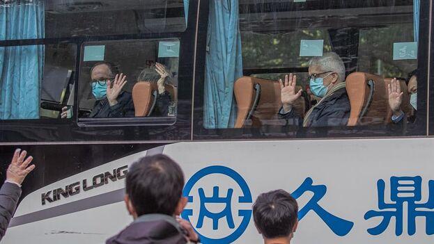 Científicos de la Organización Mundial de la Salud, este jueves en Wuhan, China. (EFE/EPA/Roman Pilipey)