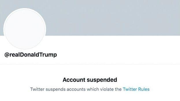 Cuenta de Donald Trump, suspendida por Twitter cuando aún ocupaba el cargo de presidente de EE UU. (Captura)