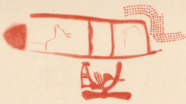 Dibujo del panel 78 en la cueva de La Pasiega hecho por Breuil et al. (1913). El símbolo rojo escalariforme tiene una edad mínima de 64.000 años, pero no está claro si los animales y otros símbolos fueron pintados más tarde.