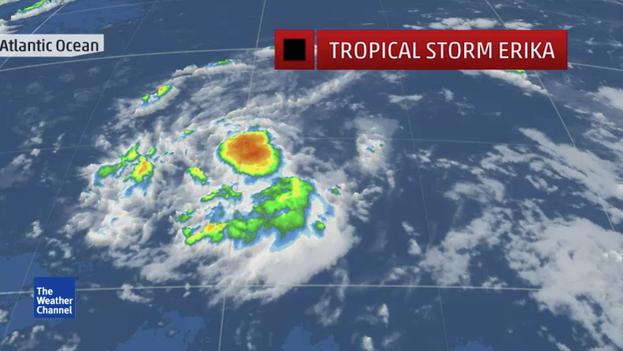 Formación de la tormenta 'Erika' en el Atlántico. (Weather Channel/captura de pantalla)