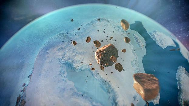 Un asteroide de 1,5 kilómetros, entero o en pedazos, se estrelló contra una capa de hielo al noroeste de Groenlandia en tiempos geológicamente recientes. (NASA Scientific Visualization Studio)