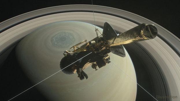 Ilustración de la nave Cassini de la NASA sobre el hemisferio norte de Saturno, dirigiéndose hacia su primera inmersión entre el planeta y sus anillos en abril de 2017. (NASA)