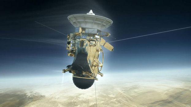 Ilustración de la nave Cassini de la NASA adentrándose el 15 de septiembre de 2017 en la atmósfera de Saturno. (NASA)