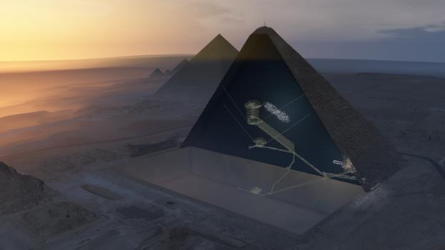 Ilustración donde se muestra (punteado en blanco) la cavidad descubierta, situada encima de la Gran Galería de la pirámide de Keops. (ScanPyramids mission)
