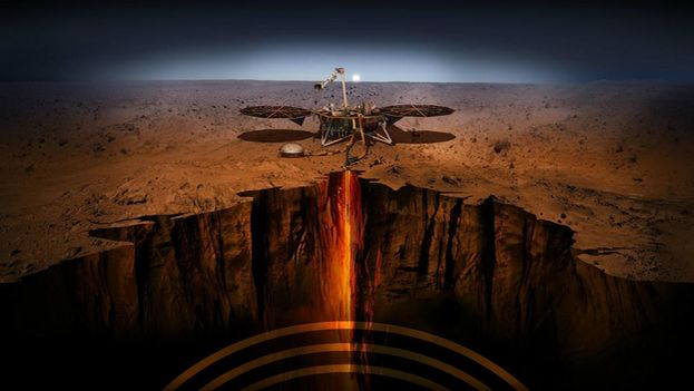 InSight, la primera misión de la NASA que quiere estudiar específicamente el interior de Marte, aterrizó con éxito en noviembre en la superficie del planeta rojo. (Nasa)