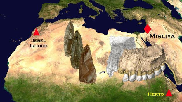 Localización de las herramientas y fósiles encontrados en Misliya (200.000-175.000 años de antigüedad) y Jebel Irhoud (315.000 años de antigüedad). (Rolf Quam-Binghamton University)