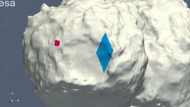 Lugar donde estaba previsto aterrizar (en rojo) y zona donde rebotó Philae (en azul) sobre el cometa 67P/CG. (ESA)