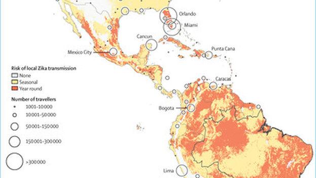 Mapa predictivo del riesgo de transmisión del zika en función de los destinos de los viajeros que salen de Brasil. (The Lancet)