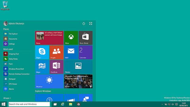 Pantalla de inicio del nuevo Windows 10. (Flickr/okubax)