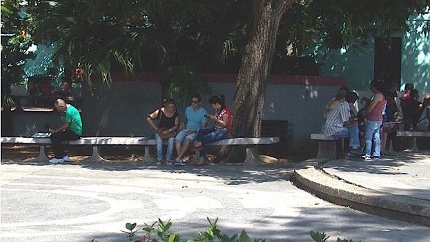 2 Personas de todas las edades se conectan al wifi del centro de Pinar del Río. (14ymedio)