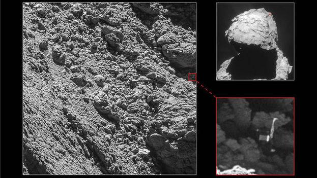 Philae ha aparecido en estas imágenes tomadas por la cámara OSIRIS el 2 de septiembre de 2016 desde una distancia de 2,7 km. (ESA)