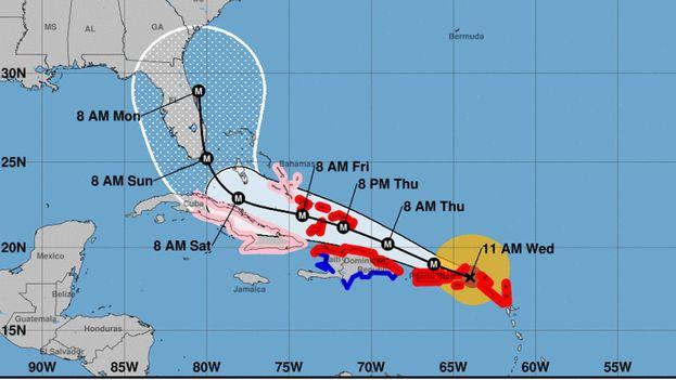 Previsión de Irma actualizada este miércoles a las 11:00 a.m. (NOAA)