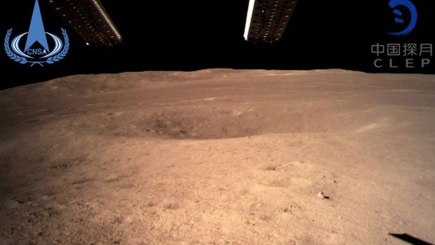 Primeras imágenes facilitadas de la cara oculta de la Luna y realizadas por Chang'e 4. (Agencia Espacial China)