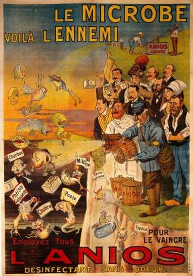Publicidad de un desinfectante para destruir microbios que representan enfermedades infecciosas. 1910. (Wellcome Collection)