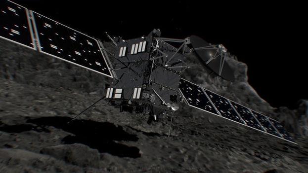 Recreación de Rosetta poco antes de chocar contra el cometa 67P el pasado 30 de septiembre. (ESA/ATG medialab)