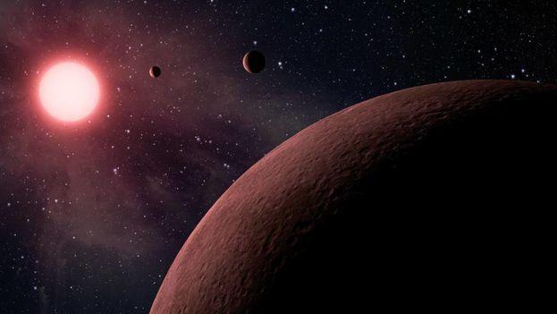 Recreación artística del sistema solar Kepler-90, descubierto por la NASA. (NASA)