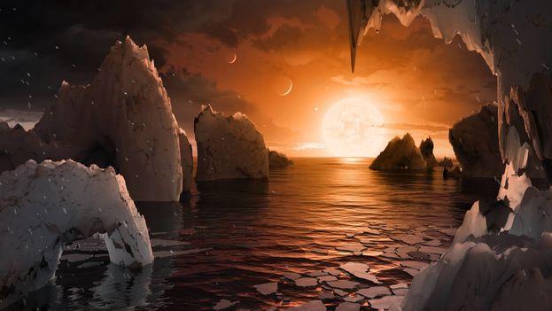 Recreación de la superficie del exoplaneta Trappist-1f. (NASA/JPL-CALTECH)