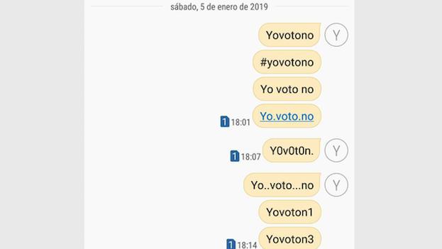 """Los SMS con las frase """"YoVotoNo"""", """"YoNoVoto"""" o con la palabra """"abstención"""" son cobradospor Etecsa peronollegan a su destino. (14ymedio)"""