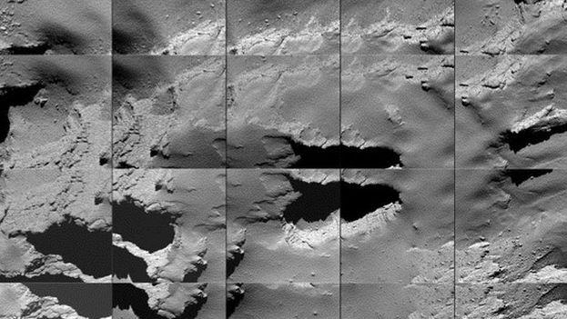 Secuencia de imágenes captadas por Rosetta durante su descenso a la superficie del cometa 67P este 30 de septiembre. (ESA/OSIRIS Team et al.)