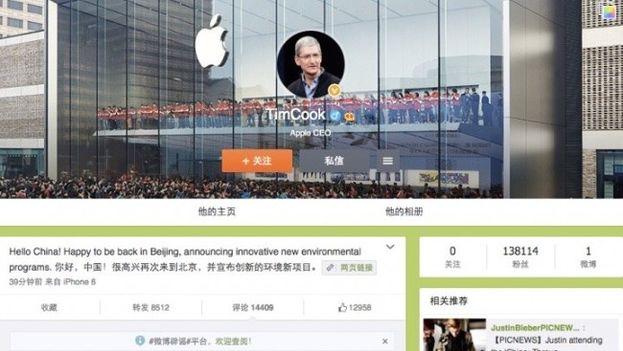 Tim Cook ha aprovechado su visita a China para abrirse una cuenta en Weibo