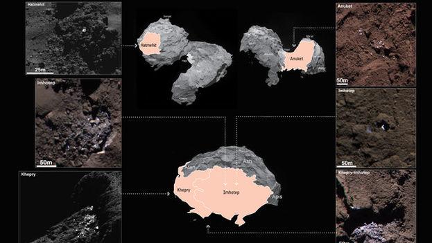 Zonas con agua helada detectadas en el cometa 67P/Churyumov-Gerasimenko. (ESA/OSIRIS Team)