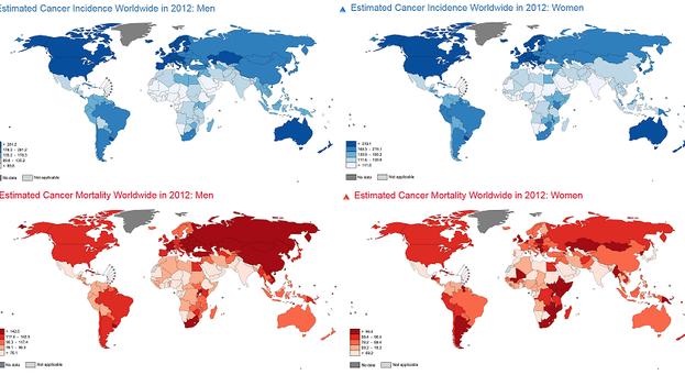 En azul incidencia y en rojo mortalidad del cáncer, según Globocan 2012. A la izquierda hombres y a la derecha mujeres. (IARC, OMS)