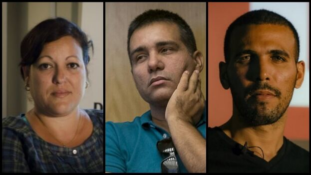 Los reporteros independientes Adriana Zamora García, Manuel Alejandro León Velázquez y Osmel Ramírez Álvarez han sido acosados por la Seguridad del Estado. (Collage/Diario de Cuba)