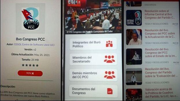 """Aplicación para teléfonos celulares con """"el compendio"""" emanado del Octavo Congreso del PCC. (14ymedio)"""