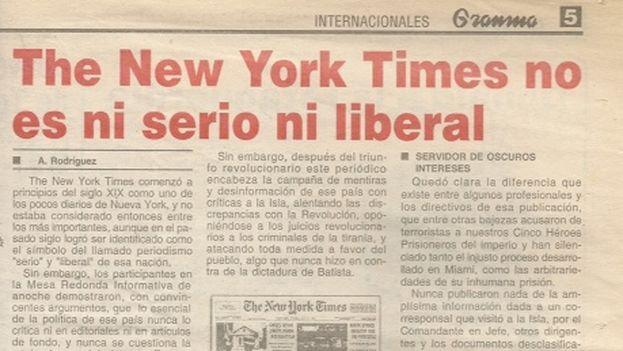 Artículo en Granma contra The New York Times, 24 de abril de 2003