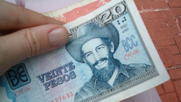 Billete de 20 pesos.