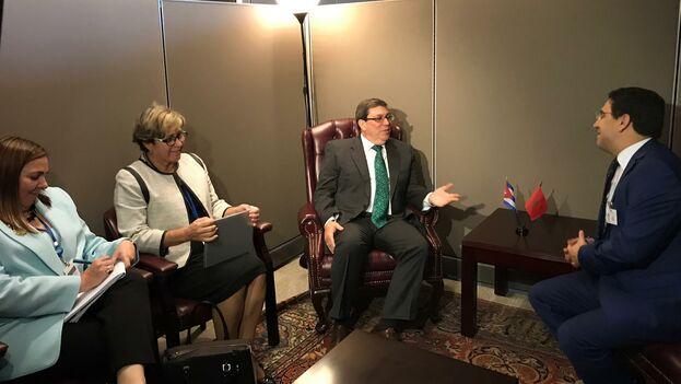 Bruno Rodríguez ha aprovechado su viaje a la ONU para mantener reuniones bilaterales, como es costumbre entre los representantes de los Estados que asisten. (Minrex)