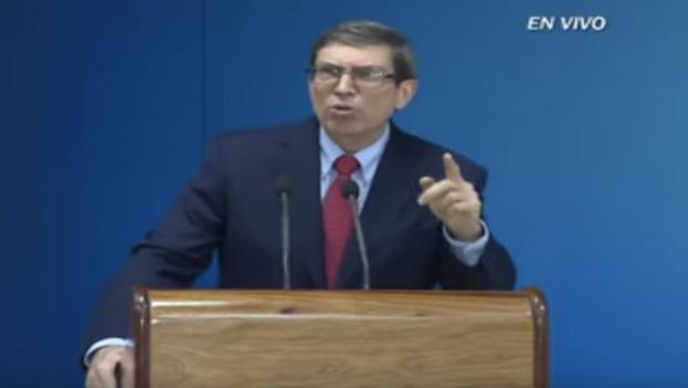 El canciller cubano, Bruno Rodríguez, durante la conferencia de prensa con corresponsales extranjeros, este martes en La Habana. (Captura)