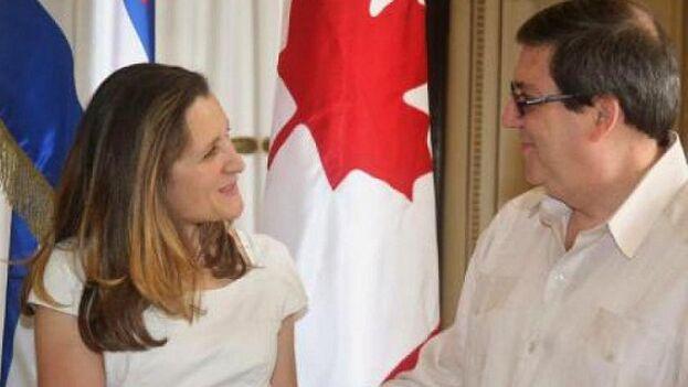Los cancilleres de Canadá, Chrystia Freeland, y de Cuba, Bruno Rodríguez, sostienen reunión sobre la crisis venezolana. (Minrex)