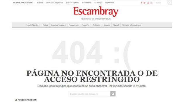 Captura del borrado de 'Escambray' en marzo de 2020 después de informar del desembarco de un enfermo de covid en Trinidad.