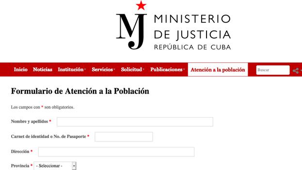 Captura de la página del Ministerio de Justicia en la que es posible, aparentemente, preguntar dudas.