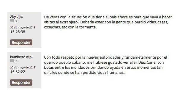 Captura de los dos comentarios en 'Granma' contrarios al viaje del presidente a Venezuela y que han sido borrados. (14ymedio)