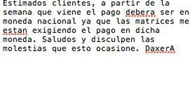 Captura de pantalla del mensaje que circuló en el 'paquete' semanal pidiendo el pago en moneda nacional. (14ymedio)