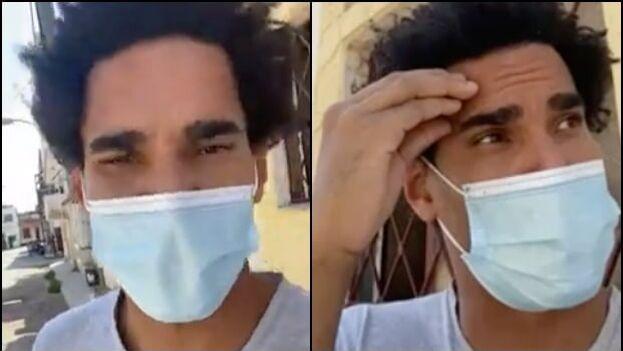 Capturas de un video que Otero Alcántara hizo al salir este lunes del hospital Calixto García. (Collage)