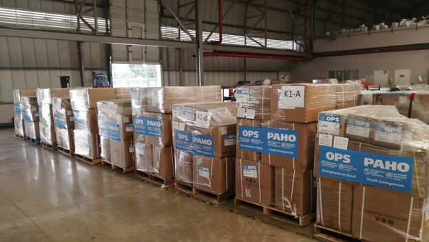 Cargamento de la OPS con toneladas de medicinas y material sanitario listo para ser enviado a Cuba. (Facebook/OPS Cuba)