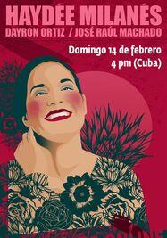 Cartel del concierto en línea de Haydée Milanés por el Día de San Valentín. (Facebook)