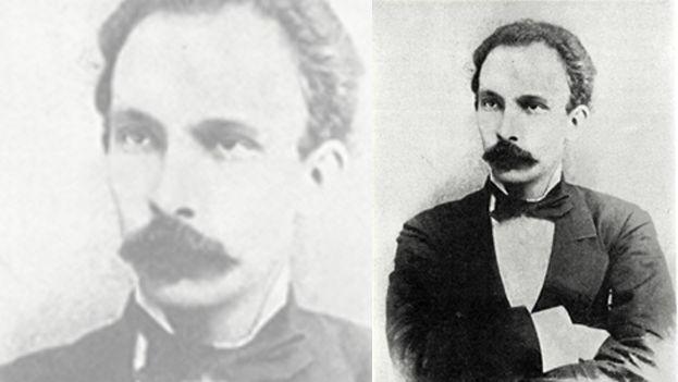 Retrato de José Martí hecho en Nueva York en 1885 (izq.), y el Mausoleo de Martí en el Cementerio de Santa Efigenia, en Santiago de Cuba. (Archivo)