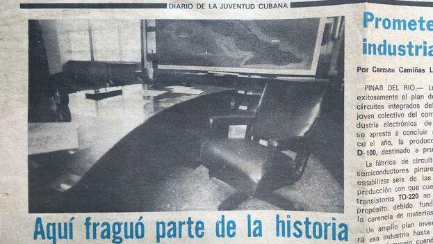 Recorte del diario 'Juventud Rebelde' publicado el 9 de octubre de 1987 con el texto de Reinaldo Escobar: 'Aquí fraguó parte de la historia'. (14ymedio)